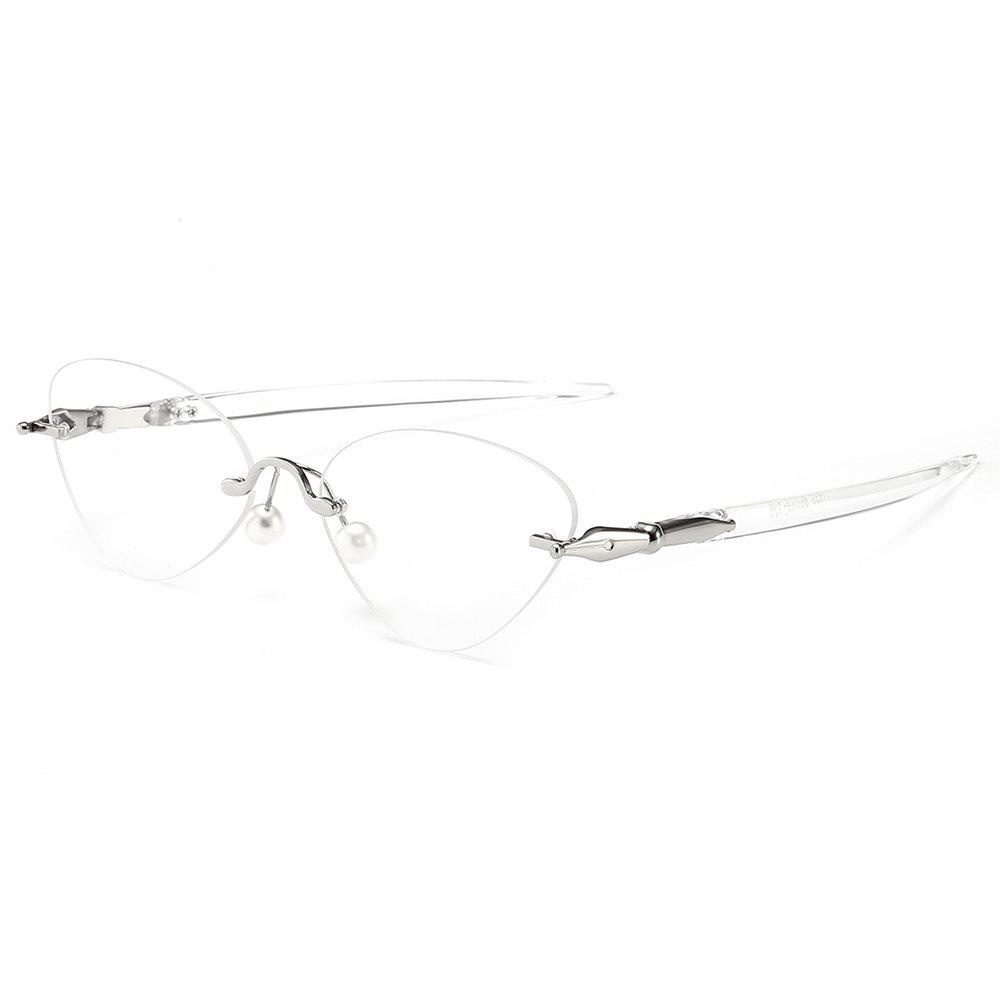Straight Legs Rimless Cat Eye Sunglasses - TRANSPARENT