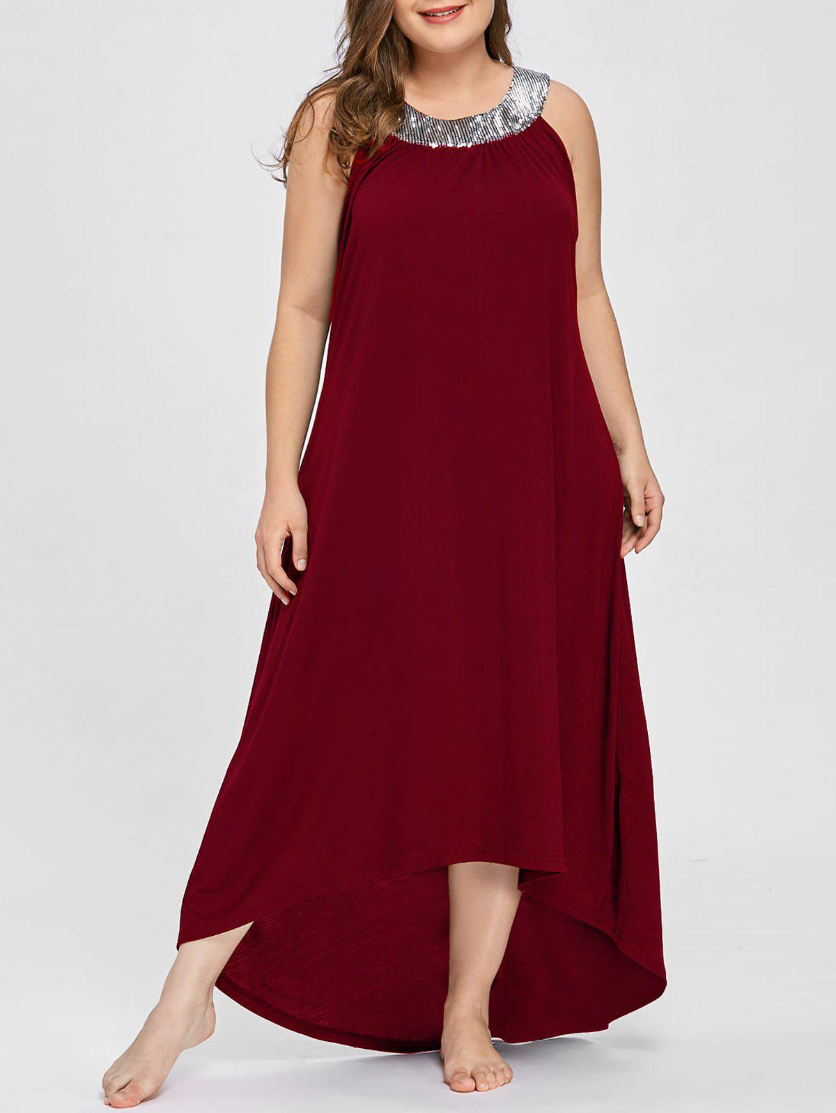 Sequins Collar Plus Size Sleeveless Maxi Dress - WINE RED 3XL