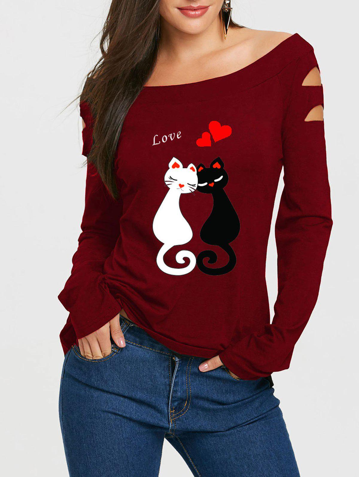 Valentine Distressed Love Cat Print T-shirt - WINE RED 2XL