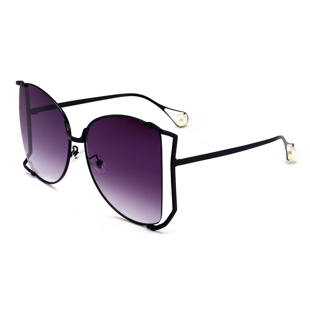 Cut Out Lens Oversized Metal Square Sunglasses - PURPLE MONSTER