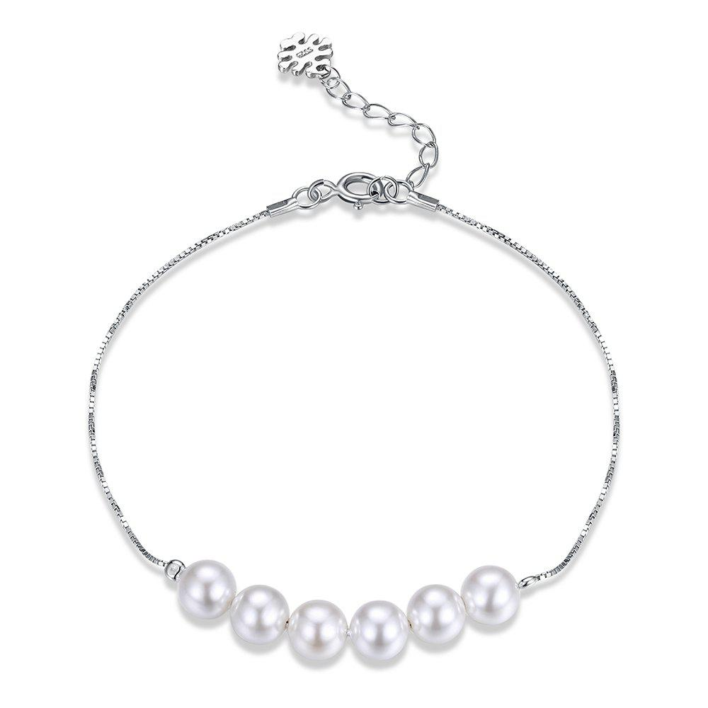 Artificial Pearl Sterling Silver Chain Bracelet artificial pearl sweater chain
