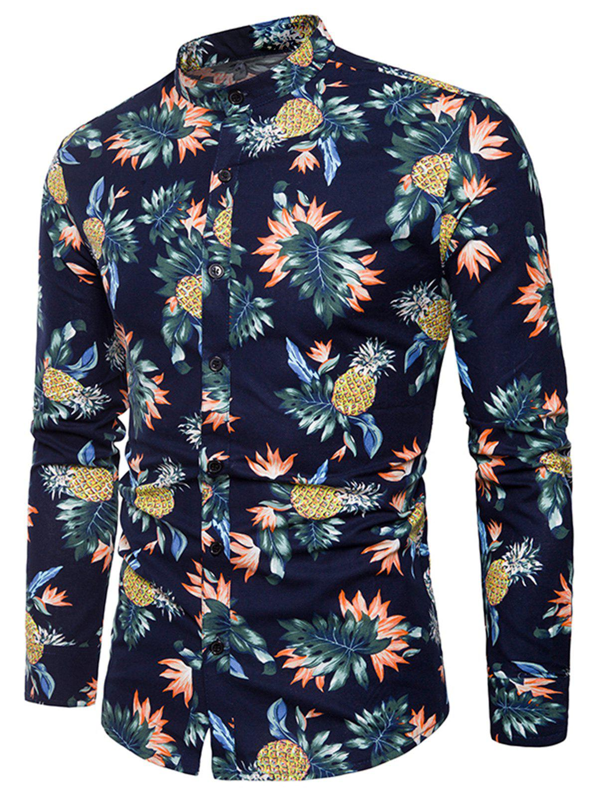 Pineapple and Floral Print Shirt - CADETBLUE 2XL