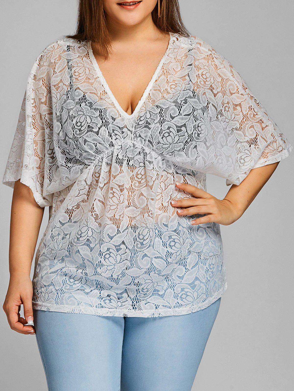 Plus Size Plunging Lace Blouse - WHITE ONE SIZE