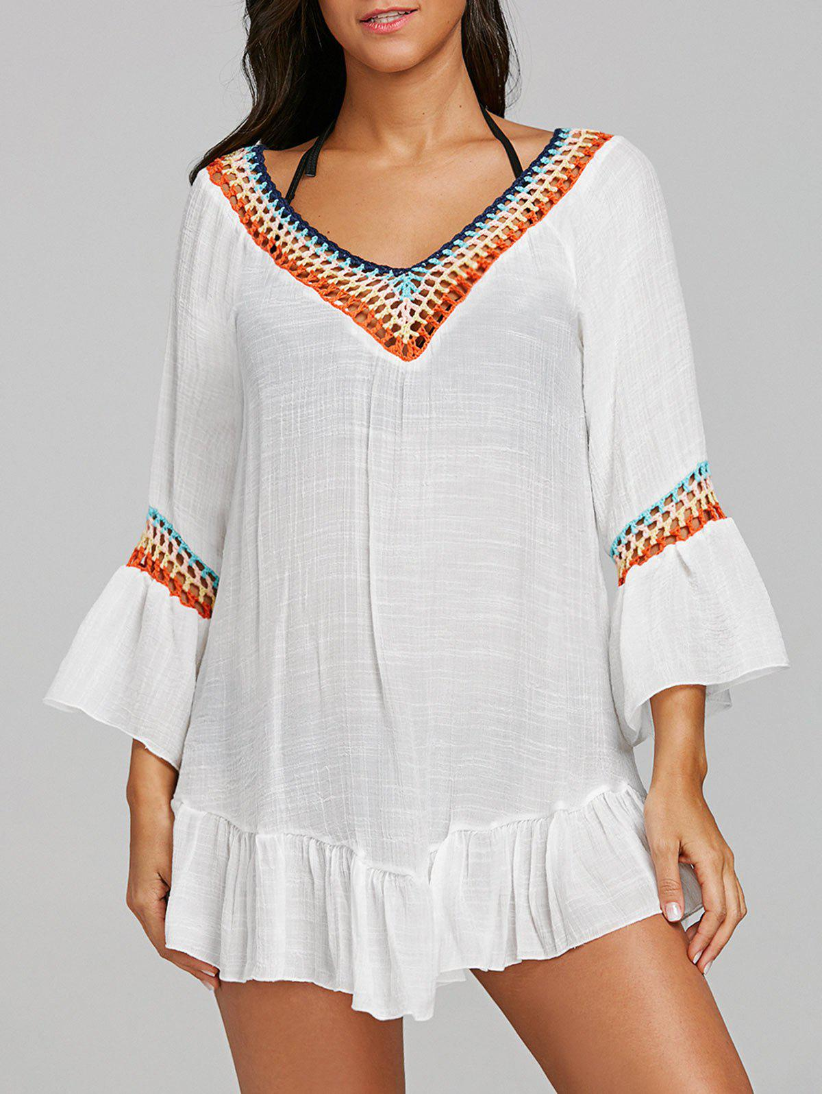 Colored Crochet Ruffled Beach Cover Up Tunic - WHITE ONE SIZE