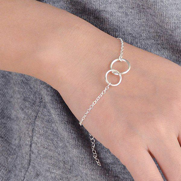 Metal Double Circle Hooked Bracelet - SILVER