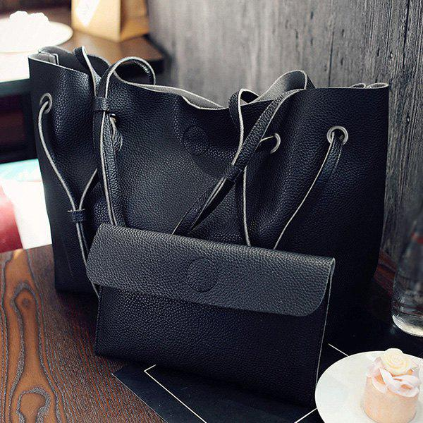 Magnetic Closure Textured Leather Shoulder Bag - BLACK