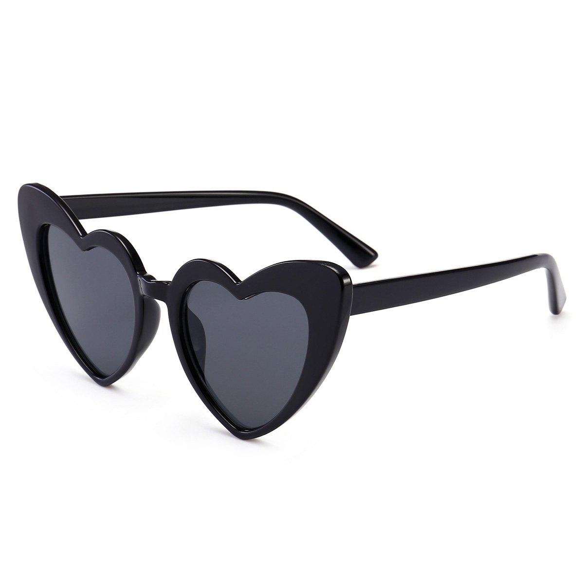 Heart Shape Full Frame Sunglasses - BRIGHT BLACK/GREY