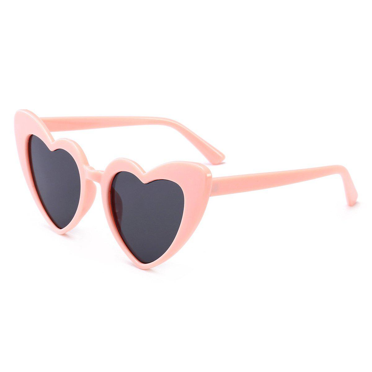 Heart Shape Full Frame Sunglasses - BLACK/PINK