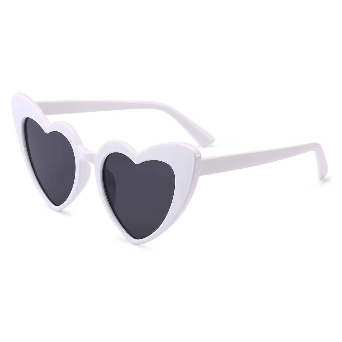 Heart Shape Full Frame Sunglasses - WHITE FRAME/GREY LENS