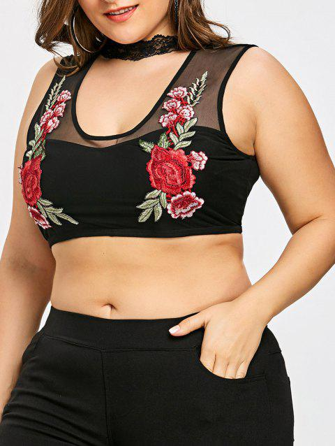 Plus Size Cut Out Sheer Embroidery Tank Top - BLACK 2XL