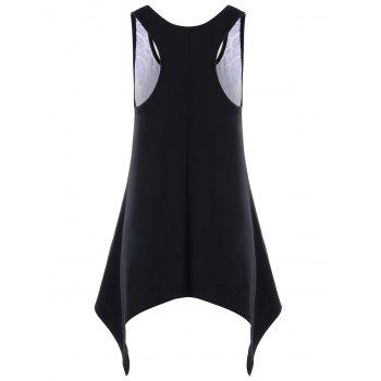 Skull Crescent Hem Tank Top - BLACK XL