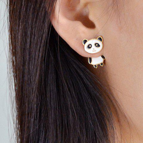 Panda Shape Stud Earrings - WHITE
