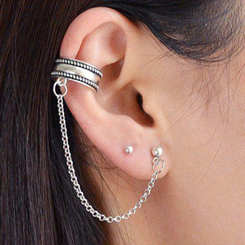 Simple Chain Ear Cuff with Stud earrings - SILVER