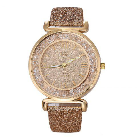 Montre à Quartz avec Sangles en Strass - Or