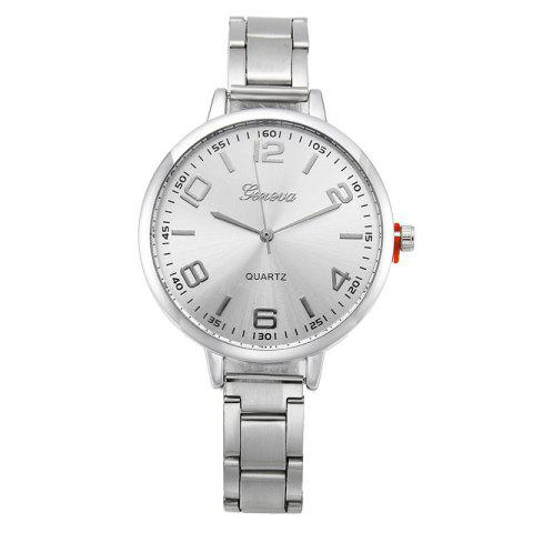 Metallic Strap Formal Round Watch - SILVER