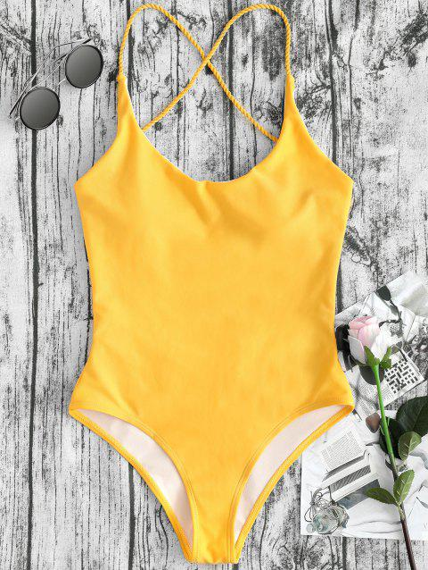 Cross Straps Backless High Leg Swimsuit - MUSTARD S