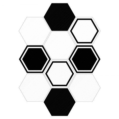 Hexagon Wall Art Stickers Set - BLACK WHITE