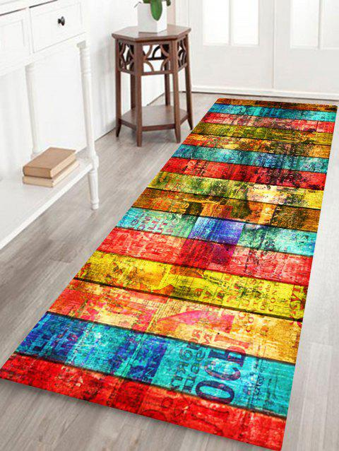 Colorful Woodgrain Pattern Non-skip Indoor Outdoor Area Rug - COLORFUL W24 INCH * L71 INCH