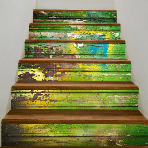 Battered Wood Board Print Home Decor Stair Stickers - COLORFUL 100*18CM*6PCS