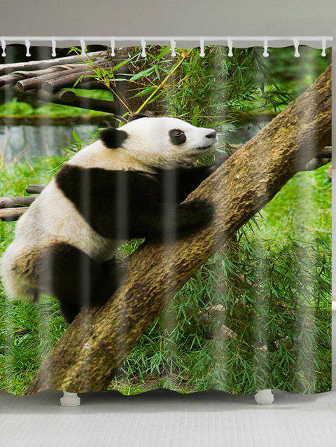 Climbing Tree Panda Printed Showerproof Bath Curtain - BLACK WHITE W71 INCH * L71 INCH