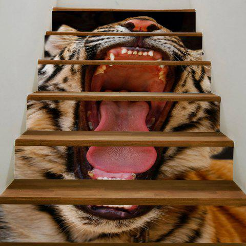 Decorative Angry Tiger Printed Stair Stickers - BROWN 100*18CM*6PCS