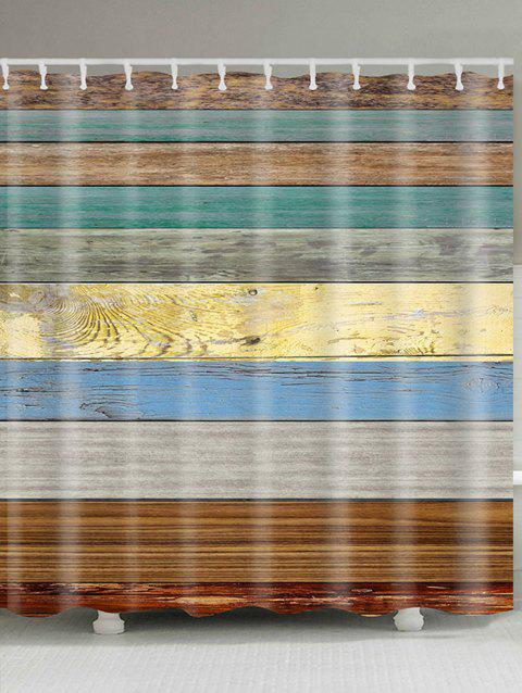 Colored Wooden Board Pattern Showerproof Bathroom Curtain - COLORFUL W71 INCH * L79 INCH