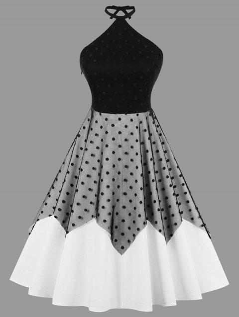 7cad353004a6 LIMITED OFFER  2019 Plus Size Two Tone Polka Dot Vintage Dress In ...