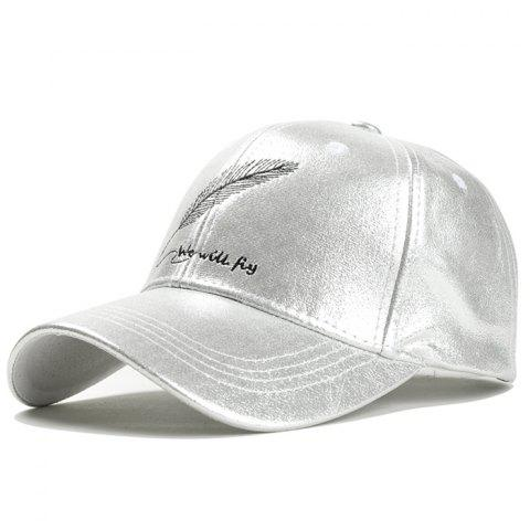 Vintage Feather Embroidery Faux Leather Baseball Cap - SILVER