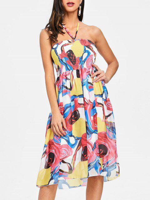 Printed Halter Smocked Chiffon Dress - COLORMIX S