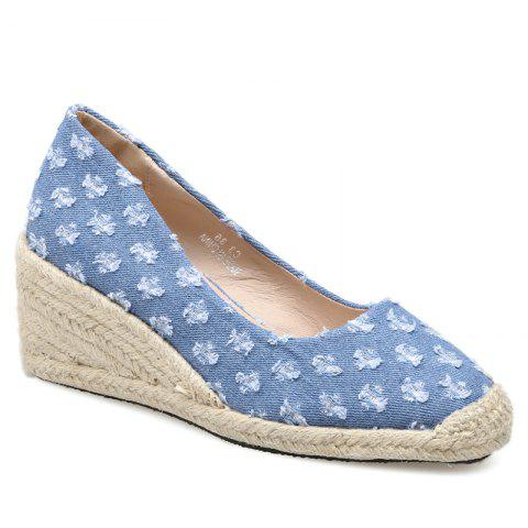 Distressed Knitted Espadrille Wedge Shoes - BLUE 38