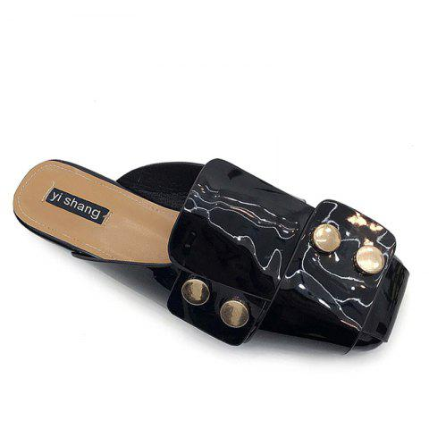 Flat Patent Leather Mules Shoes - BLACK 39