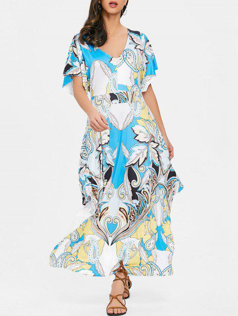 Print Cut Out Back Maxi Dress - BLUE S
