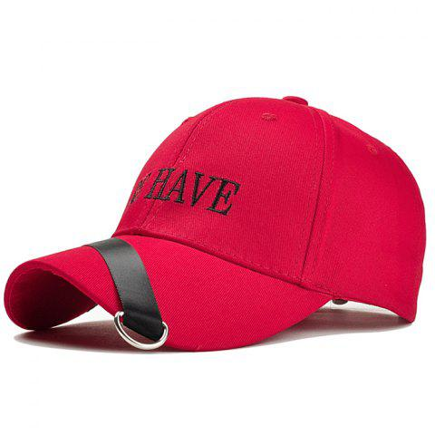Unique Ribbon Ring Decorated Baseball Cap - RED