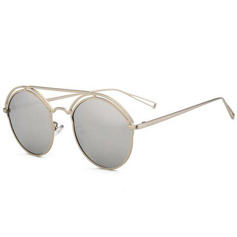 Unique Metal Ful Frame Hollow Out Oval Sunglasses - SILVER FRAME / WHITE LENS