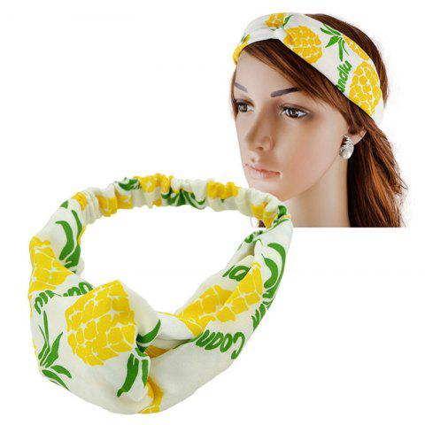 Fruit Pineapple Printed Elastic Hair Band - YELLOW