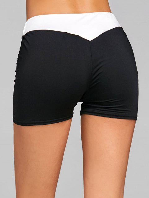 Elastic Waist Two Tone Sports Shorts - BLACK L