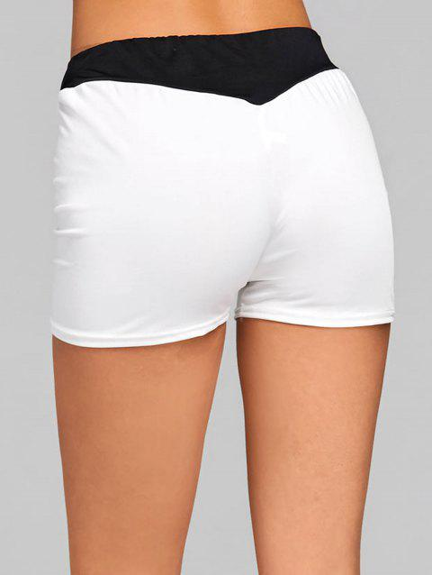 Elastic Waist Two Tone Sports Shorts - WHITE XL