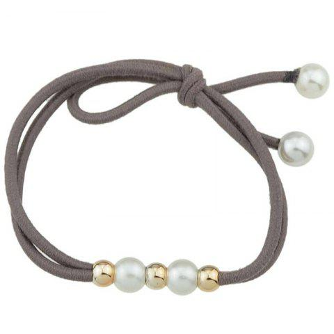 Multilayered Faux Pearl Elastic Hair Band - CAPPUCCINO