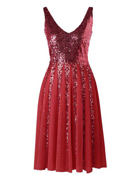 Sequined Sleeveless Chiffon Dress - WINE RED L