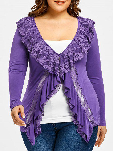 Ruffle Lace Insert Faux Twinset Plus Size Tee - PURPLE 4XL