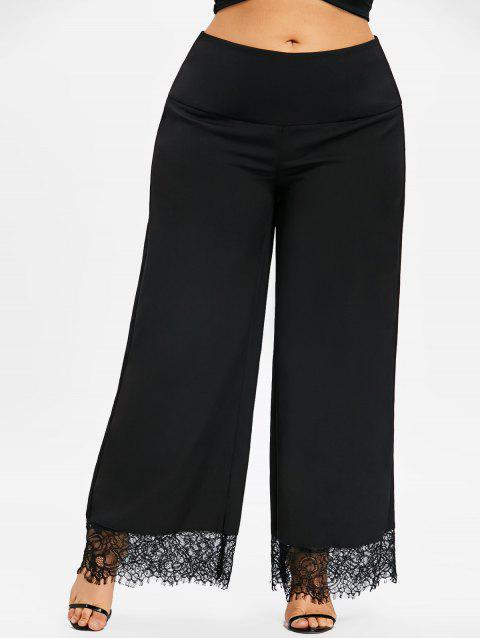 Plus Size Lace Trim Wide Leg Pants - BLACK 3XL