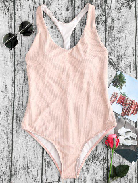 Ribbed Racerback High Cut One Piece Swimsuit - NUDE PINK M