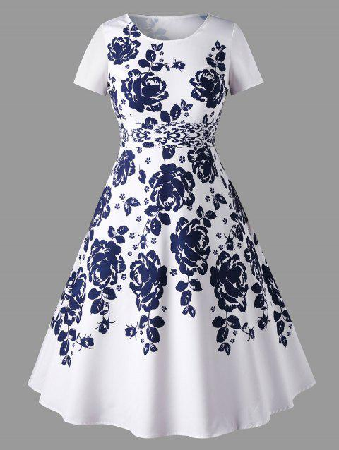 2018 Plus Size Floral Printed Flare Dress White Xl In Print Dresses