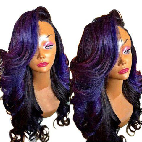 Long Colormix Deep Side Parting Loose Wave Synthetic Wig - BLACK PURPLE