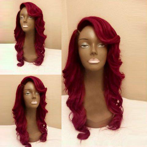 Long Side Parting Body Wave Synthetic Party Wig - WINE RED