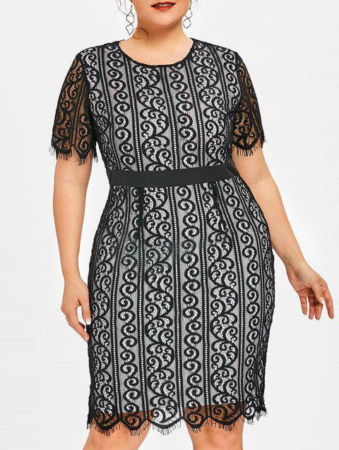 Plus Size Lace Evening Pencil Dress - BLACK XL