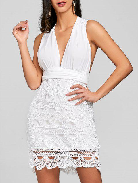 Convertible Low Cut Backless Mini Party Dress - WHITE M