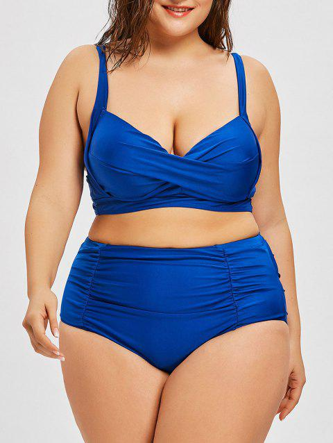 Plus Size Twist Underwire High Waist Bikini - BLUE 5XL