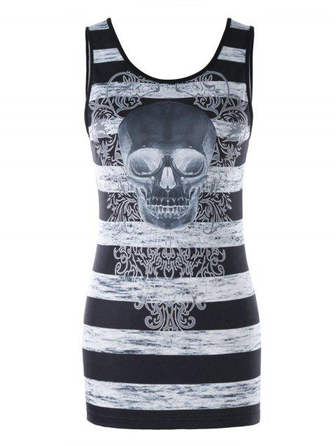 Stripe and Skull Print Tunic Tank Top - BLACK XL