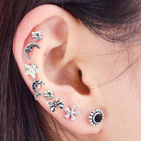 Simple and Multiform Punk Stud Earrings Set - COLORMIX